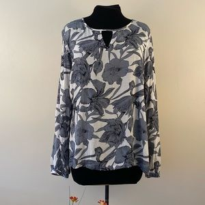 Floral long sleeve blouse button cuff cut outs
